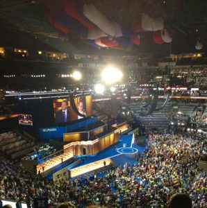The Wells Fargo Arena during the Democratic National Convention
